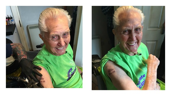 Oldest person to receive their first tattoo: Watch as 104-year-old man goes under the needle
