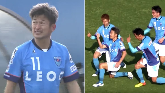 Fifty-year-old Japanese footballer Kazuyoshi Miura becomes world's oldest goal scorer