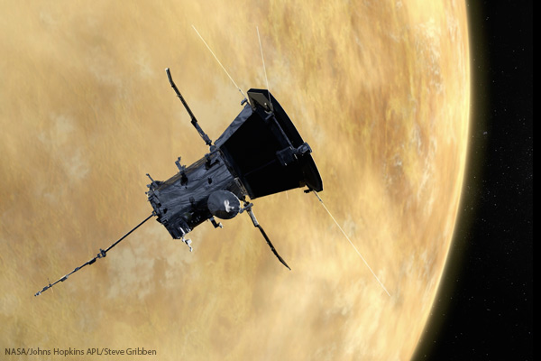 During its flyby of Venus, the probe used its instruments to measure the weak magnetic field that swirls around the planet