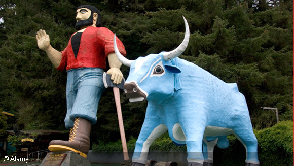The largest jeans and biggest clogs help us celebrate Paul Bunyan Day