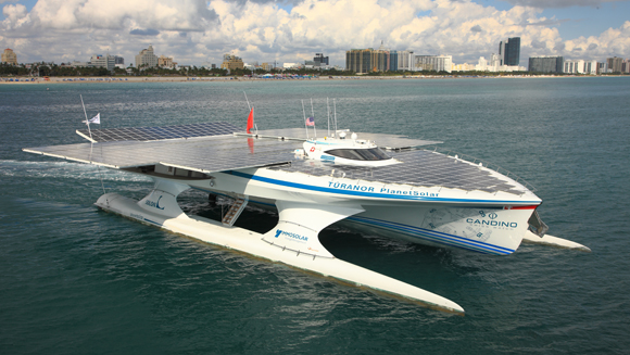largest solar powered boat completes around the world voyage