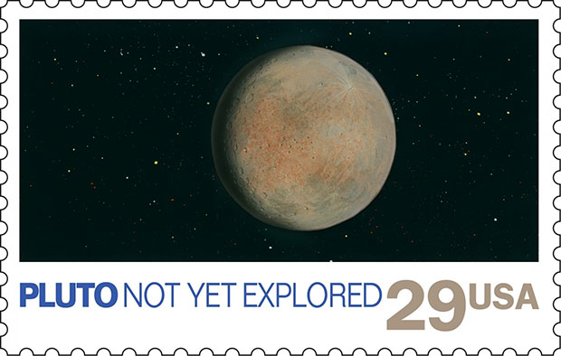 Pluto not yet explored stamp USPS