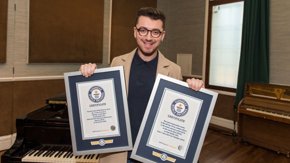 Video: Double record joy for 007 singer Sam Smith
