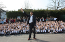 Prizes don't come any bigger: World's tallest man Sultan Kosen visits British school after competition win