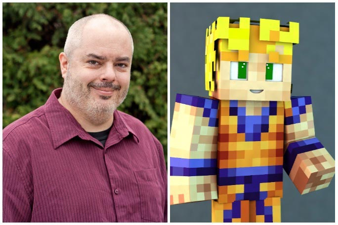Stuart Duncan and his Minecraft character