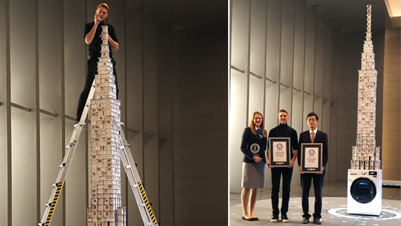 LG Electronics and cardstacker Bryan Berg build record-breaking house of cards on running washing machine
