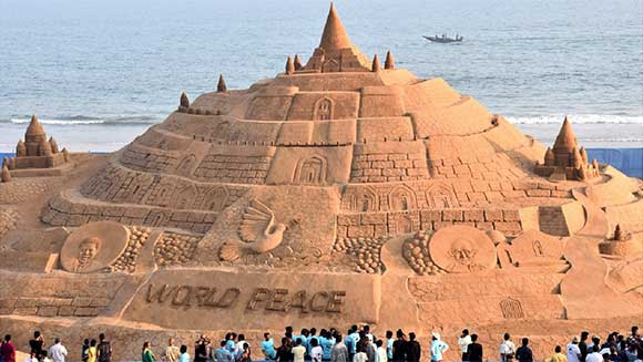 Indian artist breaks world record after building 48-foot sandcastle