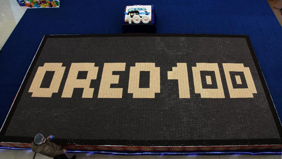 Largest cookie mosaic record is broken in China to celebrate 100th Anniversary of Oreo biscuits