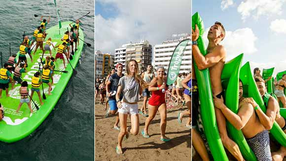 Video: Spanish beer brand breaks four beach-themed records including largest human lilo dominoes