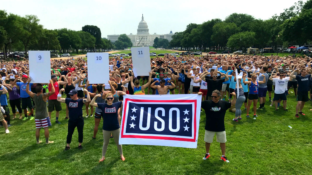 Hundreds gather to flex their muscles in Washington DC to support US Armed Forces