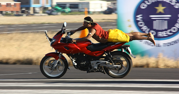 Yogaraj C P Most consecutive yoga positions on a motorcycle
