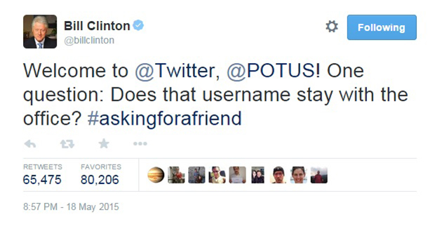 Bill Clinton Twitter Obama POTUS