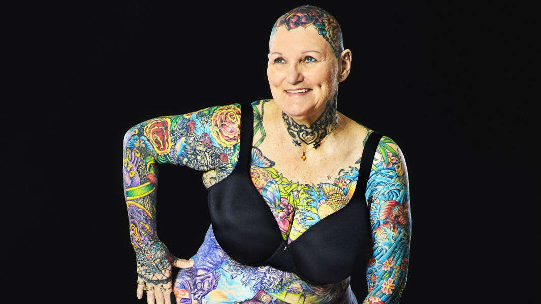 69-year-old becomes the most tattooed woman ever with 98.75% of her body inked