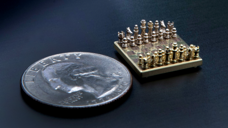 Check out the world's smallest handmade chess set