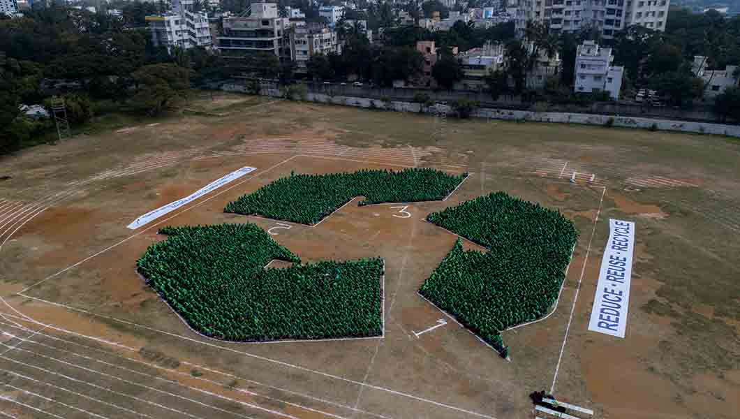 3,373 people create the recycling logo to promote biodegradable plastics
