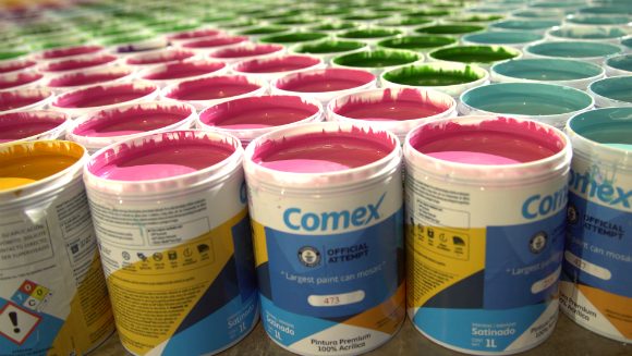 Comex creates the largest paint can mosaic