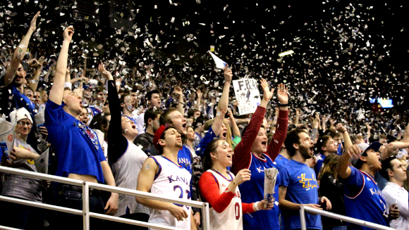 Kansas University takes University of Kentucky's title in the battle for the largest indoor crowd roar