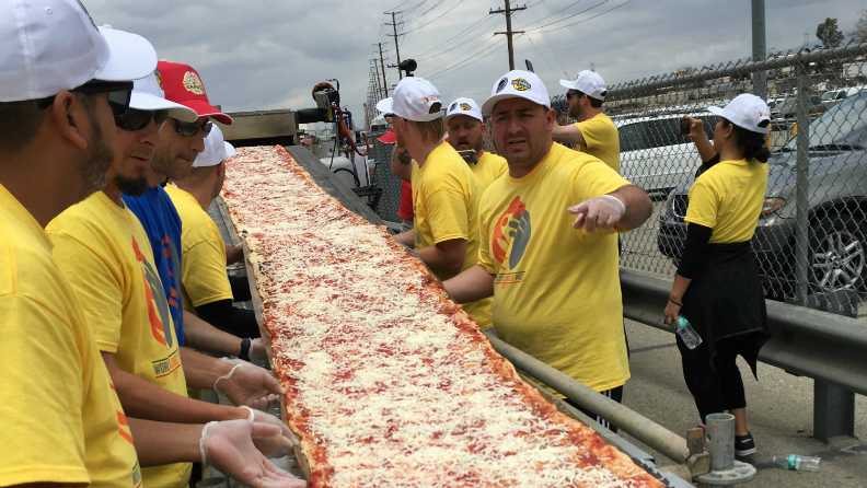 Mile-long pizza breaks a world record in California