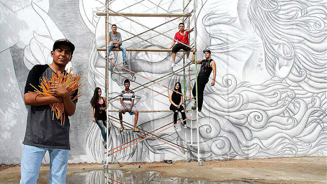 Artist goes through more than 1,200 pencils to draw stunning record-breaking mural