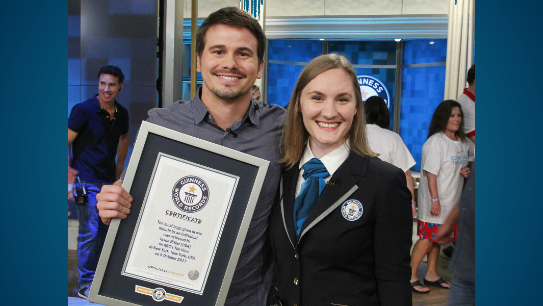 Actor Jason Ritter achieves a high-speed hugging record on set of ABC's The View