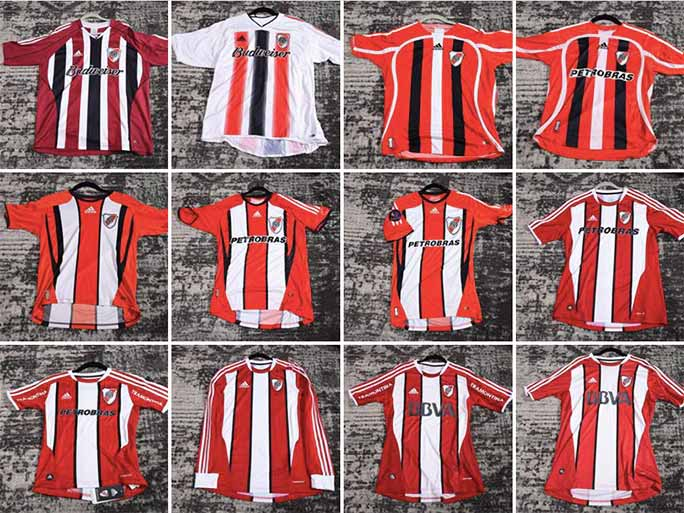 River Plate away shirts from 2006-2012