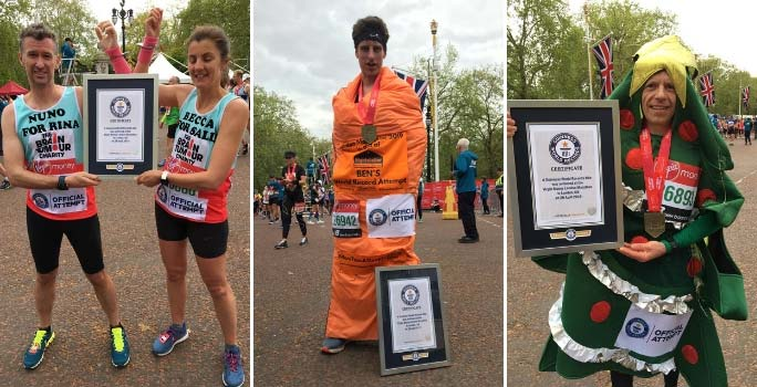Fastest marathon with two runners handcuffed (mixed pair), in a sleeping bag (male) and as a Christmas tree (male)