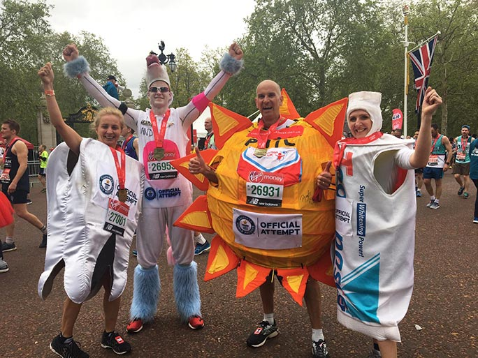 Fastest marathons dressed as a tooth (female), as a mythical creature (male), as an astronomical body (male) and as a toiletry item (female)