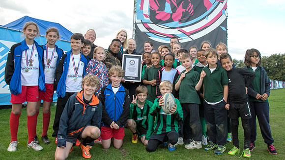 Over 400 kids from Richmond play tag rugby and try for a record