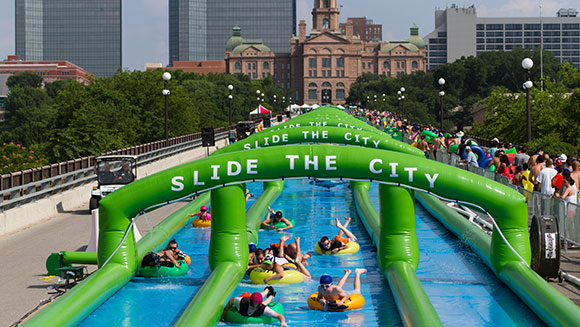Hundreds slip and slide their way to record-breaking success in Texas