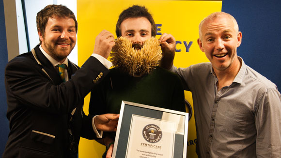 Video: Irishman sets new record set for the most toothpicks in a beard