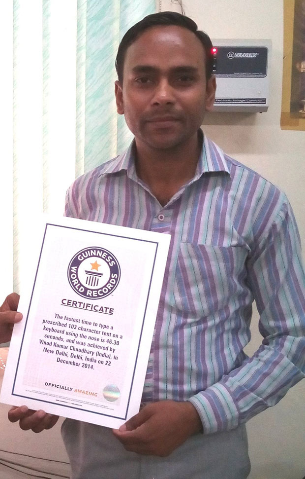 vinod-nose-typist-cert-shot-guinness-world-records