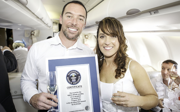Fiji Airways feels the love as five couples set highest altitude wedding on an aircraft record