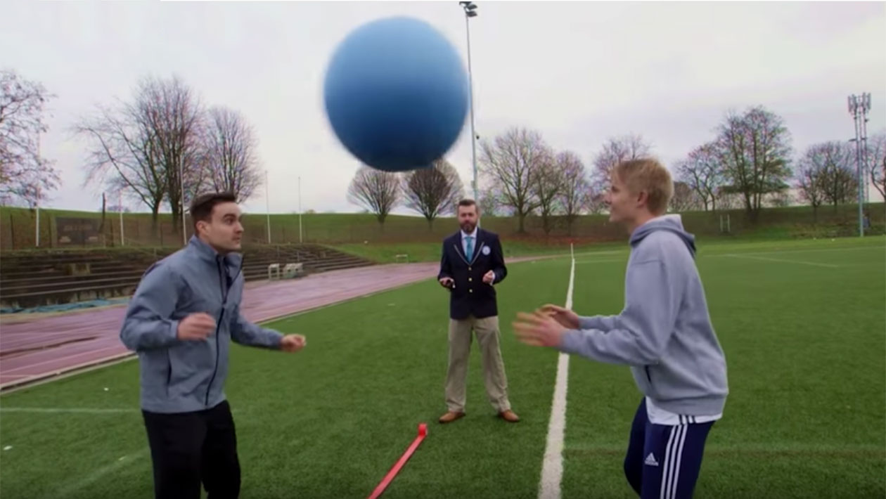 Video: YouTube stars AJ3 and Charlie Morley take on super-sized football record challenges