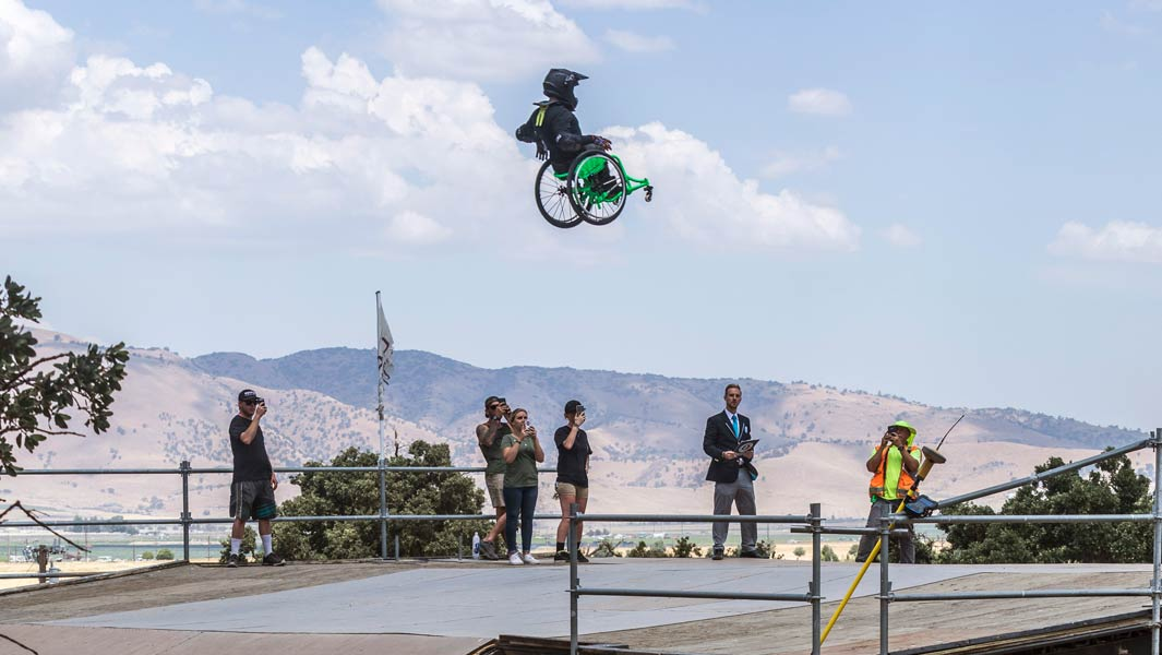 Aaron Fotheringham jumps 70 ft as he sets three extreme wheelchair records despite dramatic crash