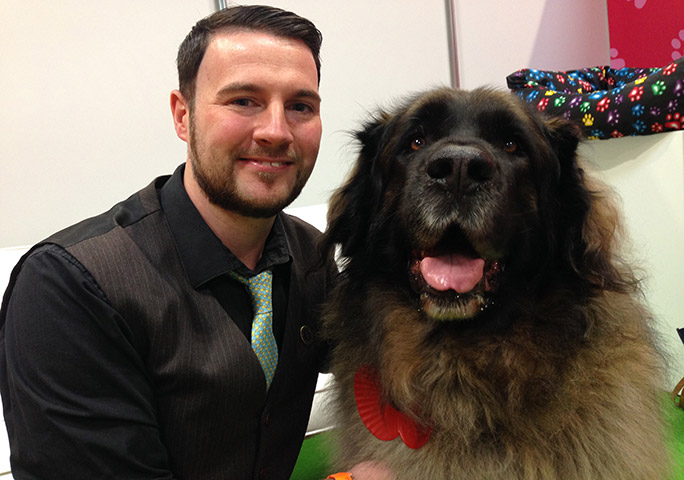 GWR's Animals Editor Adam Millward took the time for a selfie with record-breaking Hagrid at the National Pet Show in 2018