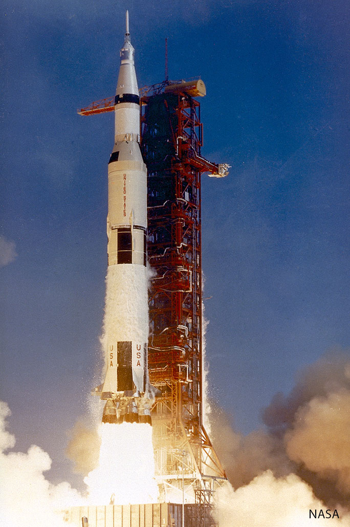 The Saturn V rocket that launched Apollo 11 takes flight.