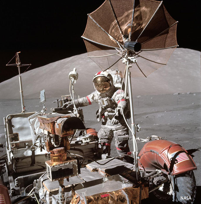 Astronaut Eugene Cernan with the Apollo 17 Lunar Reconnaissance Vehicle.