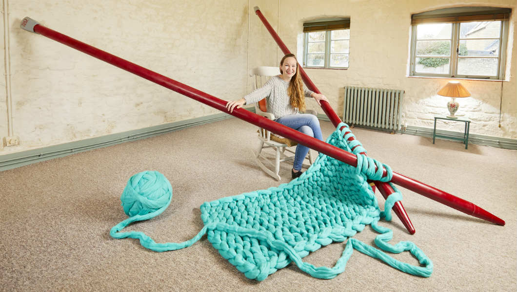 Video: Meet the woman who's made the world's largest knitting needles