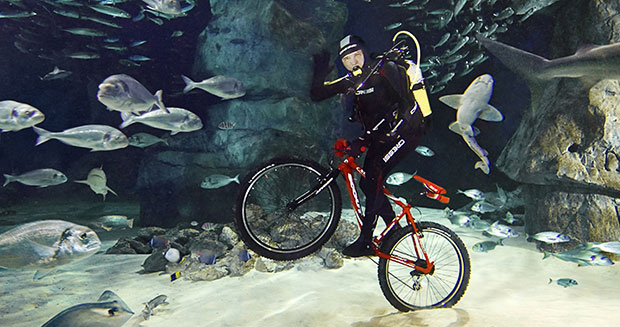 Deepest underwater cycling