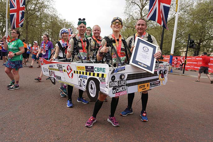 The fastest marathon in a six-person costume is 6 hours 20 minutes 49 seconds at the London Marathon 2018