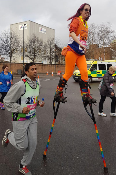The fastest marathon on stilts is 6 hours 37 minutes 38 seconds by Michelle Frost (UK) at the London Marathon 2018