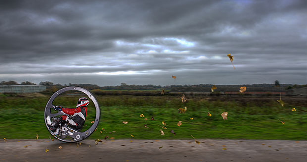 Fastest monowheel motorcycle in motion