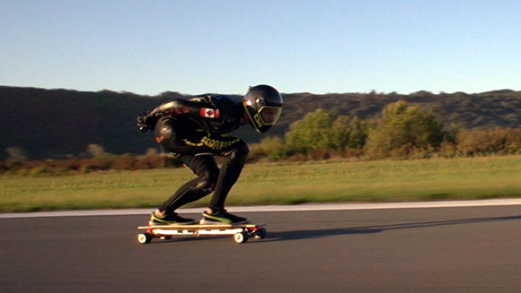 Video: Fastest speed on an electric skateboard - watch incredible footage as thrill-seeker Mischo Erban hits 95.83 km/h