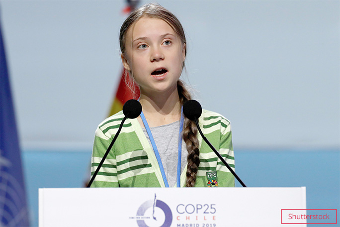 Greta gives a speech at the UN COP 25 conference, which had to be relocated from Chile to Spain, in Dec 2019