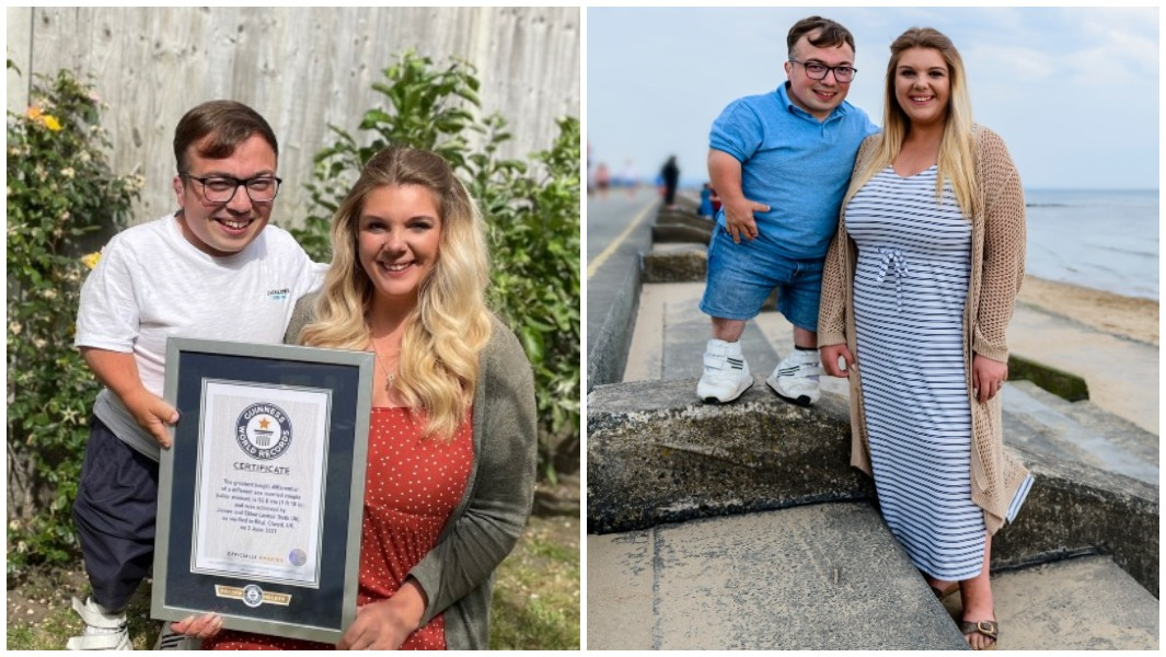 James and Chloe Lusted showing their certificate split image
