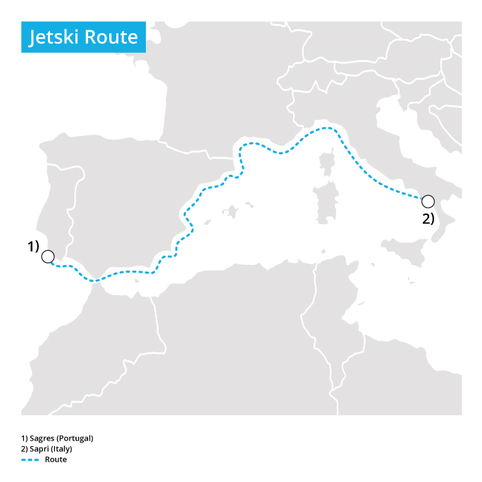 Longest open ocean journey by jetski route