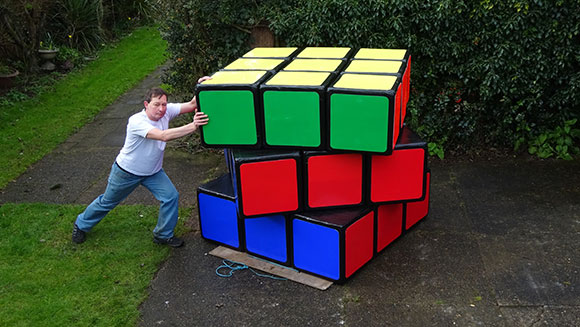 Video: Watch maker of world's largest Rubik's cube attempt to solve it