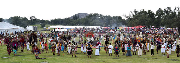 Largest ancient ceremonial Mexican dance panorama
