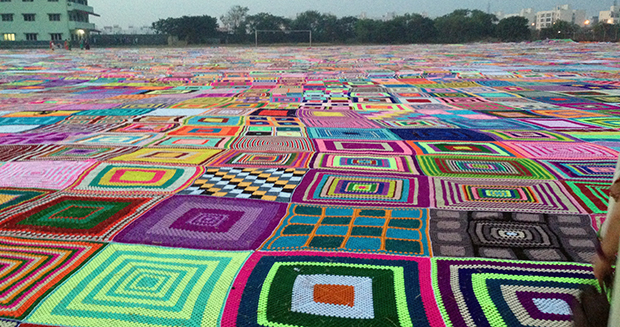 Close up of largest crochet blanket