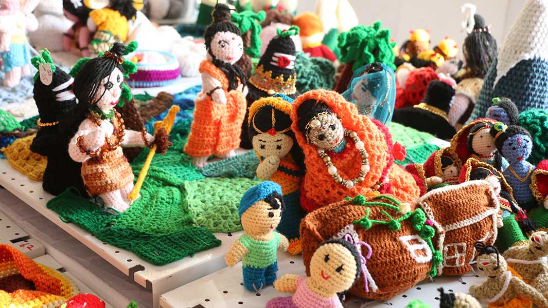 Indian crochet group breaks record with huge display of 58,917 sculptures